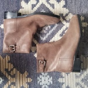 Gap Brown leather Ankle Buckle Moto Boots Size 7